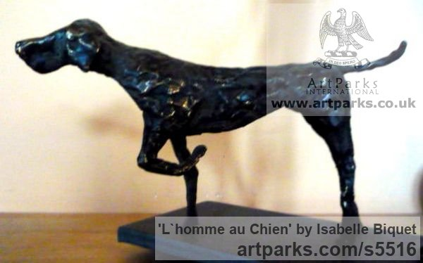 Bronze, socle en acier Dogs sculpture by sculptor Isabelle Biquet titled: 'Lhomme au Chien (nude Man and Friend Dog statues)' - Artwork View 3