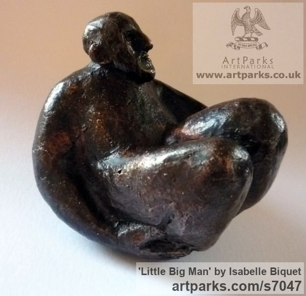Bronze Male Men Youths Masculine sculpturettes figurines sculpture by sculptor Isabelle Biquet titled: 'Little big Man (Small Giant Seated statuette)'