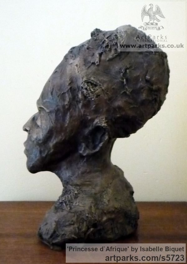 Bronze Females Women Girls Ladies sculpture statuettes figurines sculpture by sculptor Isabelle Biquet titled: 'Princesse d`Afrique (Little African female Head statue)' - Artwork View 2