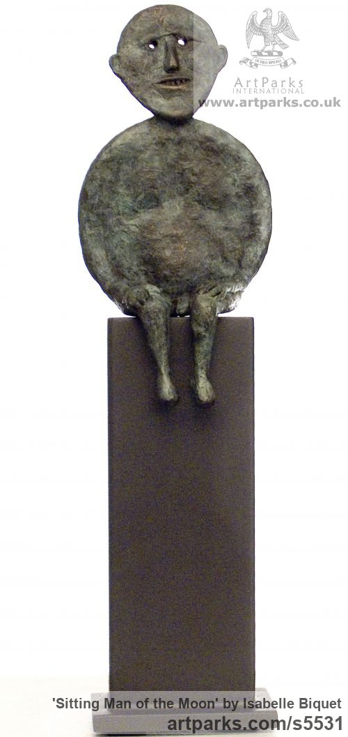 Bronze Round Disk, Dish, Flat Circular Ring Shaped Sculptures / sculpturette statuary sculpture by sculptor Isabelle Biquet titled: 'Sitting man of the moon (homme lune assis Bronze abstract statuette)'