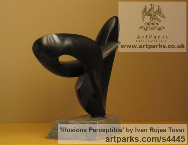 Marble Tabletop Desktop Small Indoor Statuettes Figurines sculpture by sculptor Ivan Rojas Tovar titled: 'Illusions Perceptible (Black marble abstract Contemporary statuette)' - Artwork View 2