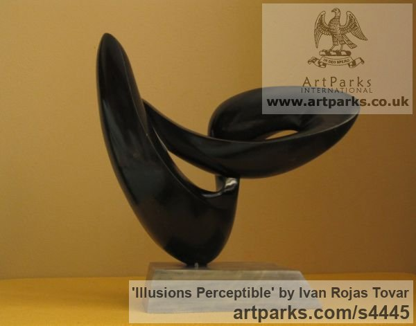 Marble Tabletop Desktop Small Indoor Statuettes Figurines sculpture by sculptor Ivan Rojas Tovar titled: 'Illusions Perceptible (Black marble abstract Contemporary statuette)' - Artwork View 3