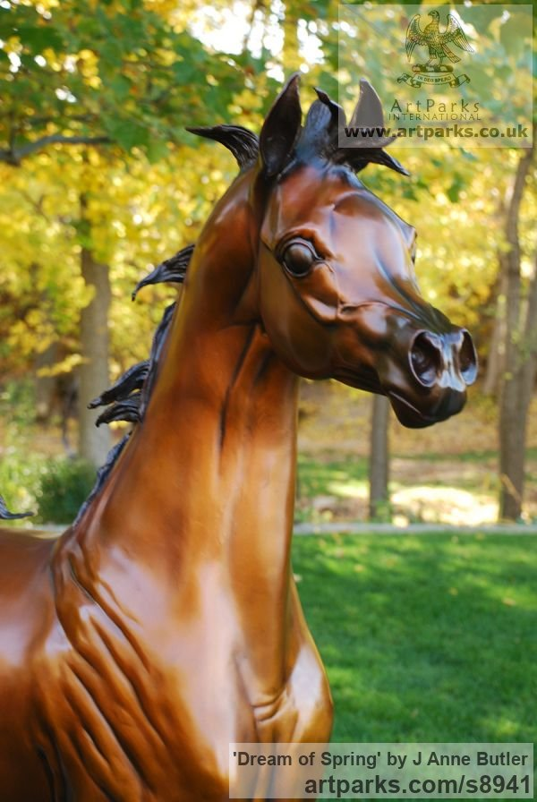 Bronze Garden Or Yard / Outside and Outdoor sculpture by sculptor J Anne Butler titled: 'Dream of Spring (life size Arabian Filly sculpture)' - Artwork View 2