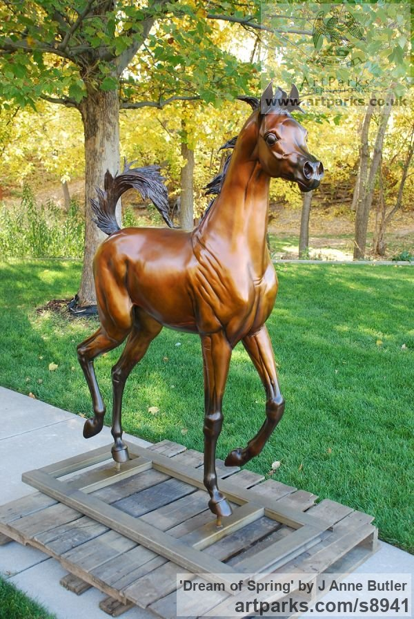 Bronze Garden Or Yard / Outside and Outdoor sculpture by sculptor J Anne Butler titled: 'Dream of Spring (life size Arabian Filly sculpture)' - Artwork View 4