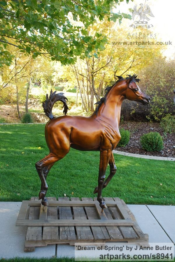 Bronze Garden Or Yard / Outside and Outdoor sculpture by sculptor J Anne Butler titled: 'Dream of Spring (life size Arabian Filly sculpture)' - Artwork View 5