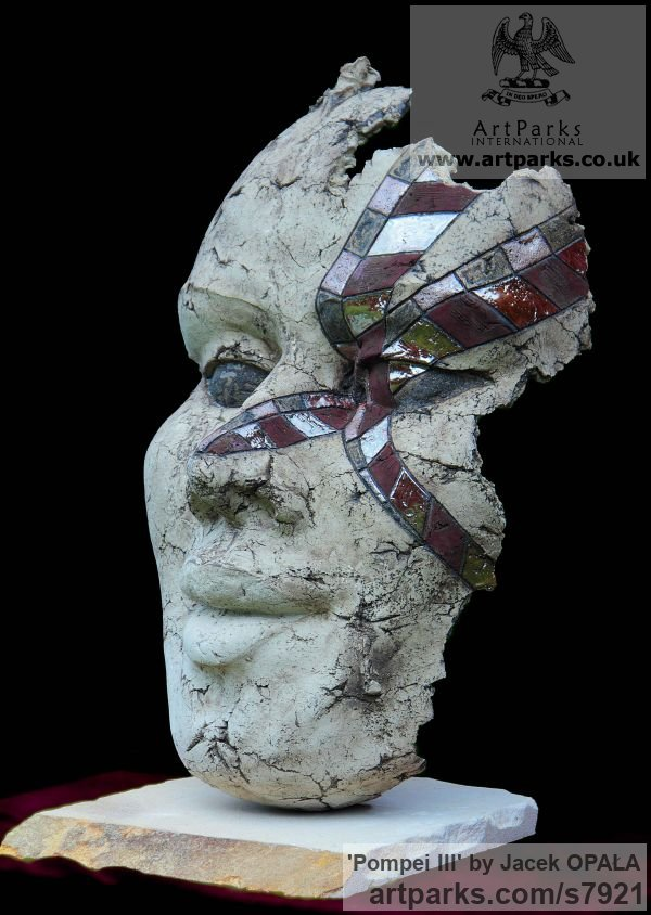Clay Females Women Girls Ladies sculpture statuettes figurines sculpture by sculptor Jacek OPAŁA titled: 'Pompei III (ceramic Mutilated female Face Head Mask Hanging sculpture)' - Artwork View 2
