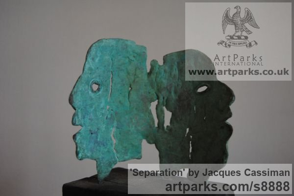 Bronze Grotesque Sculptures / Statues / figurines to order Commission Custom Bespoke sculpture by sculptor Jacques Cassiman titled: 'Separation (Contemporary abstract Face sculptures)'