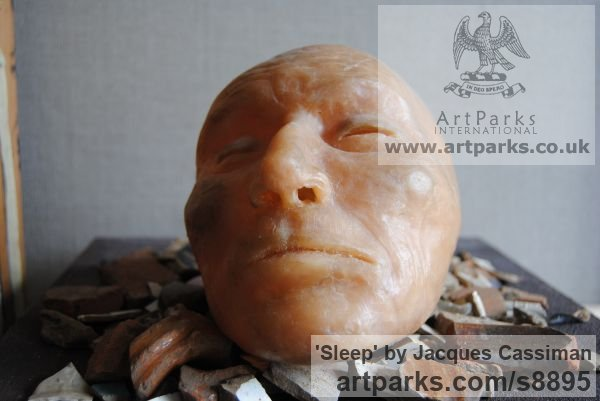 Bronze Wall Mounted or Wall Hanging sculpture by sculptor Jacques Cassiman titled: 'Sleep (Man`s Face bronze sculpture)'