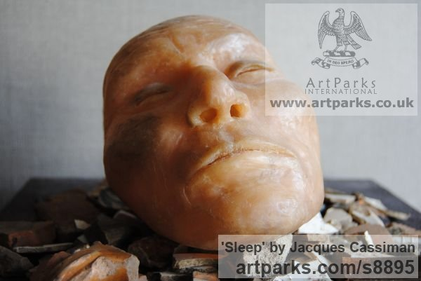 Bronze Wall Mounted or Wall Hanging sculpture by sculptor Jacques Cassiman titled: 'Sleep (Man`s Face bronze sculpture)' - Artwork View 3