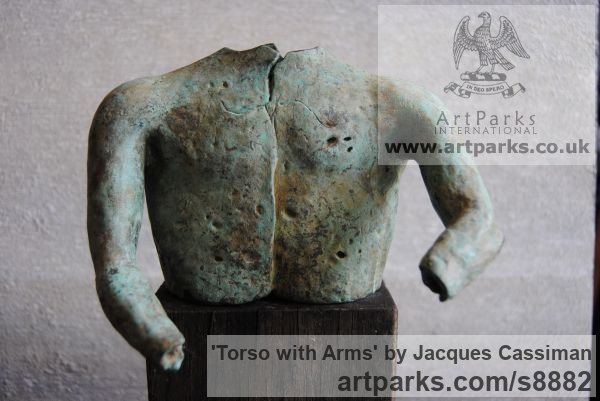 Bronze Nude sculpture statuette Figurine Ornament sculpture by sculptor Jacques Cassiman titled: 'Torso with Arms'