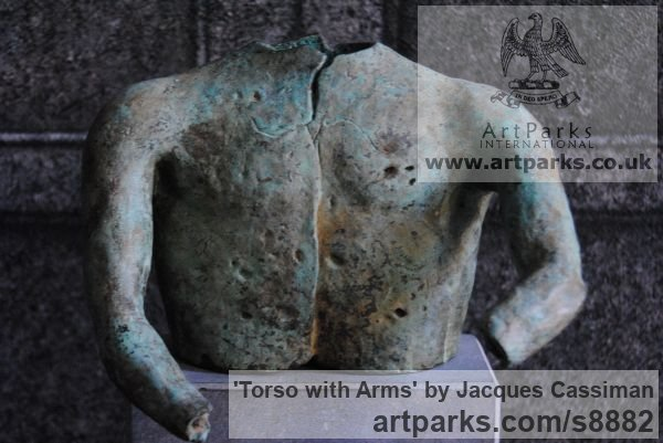 Bronze Nude sculpture statuette Figurine Ornament sculpture by sculptor Jacques Cassiman titled: 'Torso with Arms' - Artwork View 2