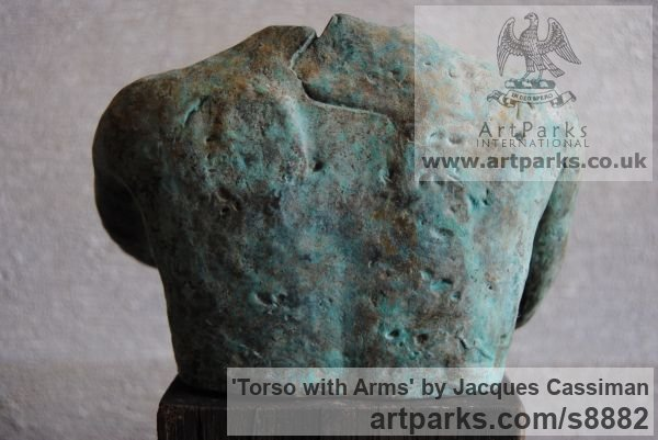 Bronze Nude sculpture statuette Figurine Ornament sculpture by sculptor Jacques Cassiman titled: 'Torso with Arms' - Artwork View 3