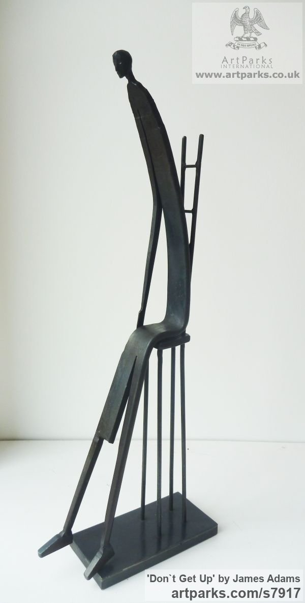 Mild Steel Fabricated Metal Abstract sculpture by sculptor James Adams titled: 'Don`t Get Up (Seated abstract Person statuette/sculpture)'