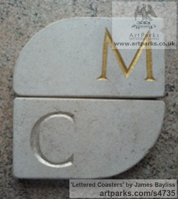 Natural stone Carved Stone, Marble, Alabaster, Soap Stone Granite Lime stone sculpture by sculptor James Bayliss titled: 'Lettered Coasters (Affordable Carved stone Mats)'
