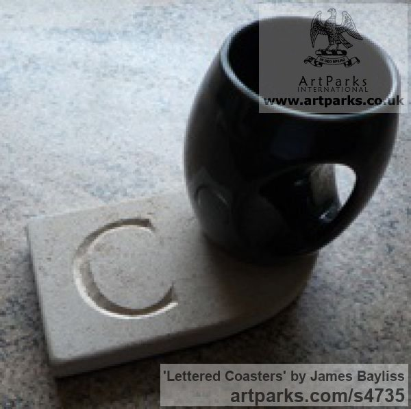 Natural stone Carved Stone, Marble, Alabaster, Soap Stone Granite Lime stone sculpture by sculptor James Bayliss titled: 'Lettered Coasters (Affordable Carved stone Mats)' - Artwork View 2
