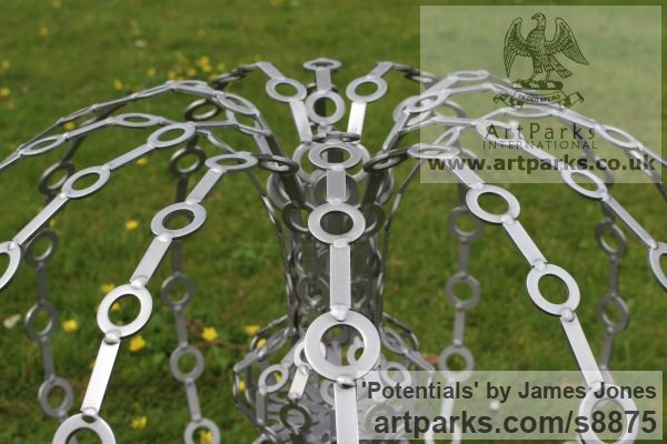 Stainless steel Abstract Contemporary Modern Outdoor Outside Garden / Yard sculpture statuary sculpture by sculptor James Jones titled: 'Potentials'