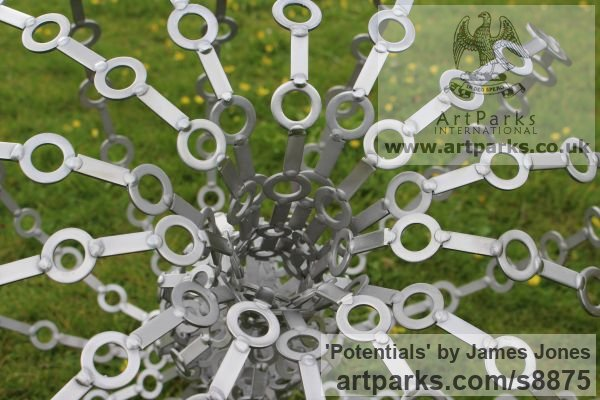 Stainless steel Abstract Contemporary Modern Outdoor Outside Garden / Yard sculpture statuary sculpture by sculptor James Jones titled: 'Potentials' - Artwork View 4