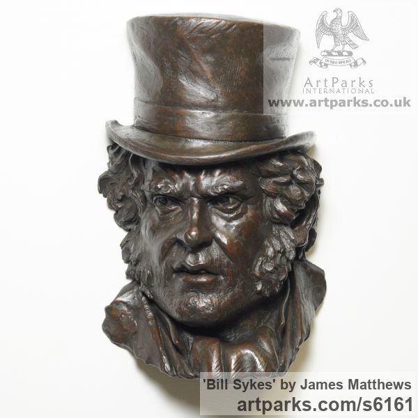 Painted plaster polymer Portrait Sculptures / Commission or Bespoke or Customised sculpture by sculptor James Matthews titled: 'Bill Sikes (High Relief Face Portrait Dickens character Wall sculpture)'