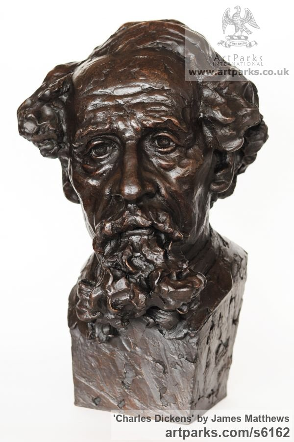 Painted plaster polymer Famous People sculpture sculpture by sculptor James Matthews titled: 'Charles Dickens (Portrait Face Head Bust sculpture statuettes)'