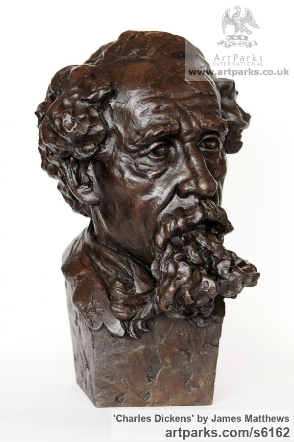 Painted plaster polymer Famous People sculpture sculpture by sculptor James Matthews titled: 'Charles Dickens (Portrait Face Head Bust sculpture statuettes)' - Artwork View 3