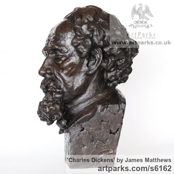 Painted plaster polymer Famous People sculpture sculpture by sculptor James Matthews titled: 'Charles Dickens (Portrait Face Head Bust sculpture statuettes)' - Artwork View 4