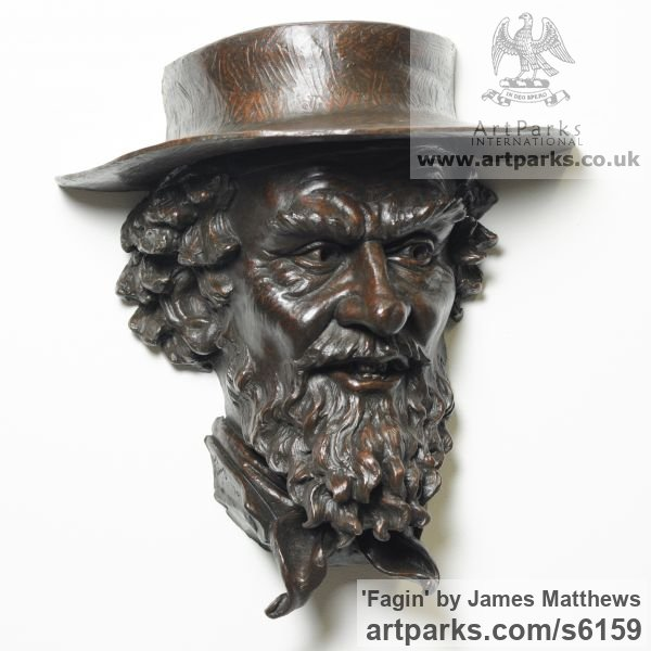 Painted plaster polymer Wall Mounted or Wall Hanging sculpture by sculptor James Matthews titled: 'Fagin (Portrait Head Bust sculpture or sculpturette Wall Plaque)'