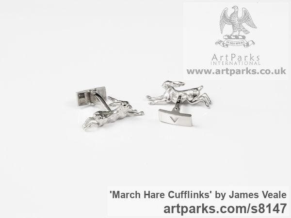 Sterling Silver Field Sports, Game Birds and Game Animals sculpture by sculptor James Veale titled: 'March Hare Cufflinks (Little Solid SilverMad Running Present Gift statue)' - Artwork View 1