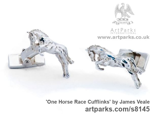 Sterling Silver Horse Sculpture / Equines Race Horses Pack HorseCart Horses Plough Horsess sculpture by sculptor James Veale titled: 'One Horse Race Cufflinks (Galloping Sterling Solid Silver Gift Present)'