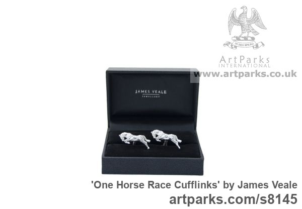 Sterling Silver Horse Sculpture / Equines Race Horses Pack HorseCart Horses Plough Horsess sculpture by sculptor James Veale titled: 'One Horse Race Cufflinks (Galloping Sterling Solid Silver Gift Present)' - Artwork View 2