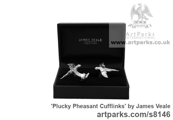 Sterling Silver Field Sports, Game Birds and Game Animals sculpture by sculptor James Veale titled: 'Plucky Pheasant Cufflinks (Silver Flying Gifts Presents Presentations)' - Artwork View 2