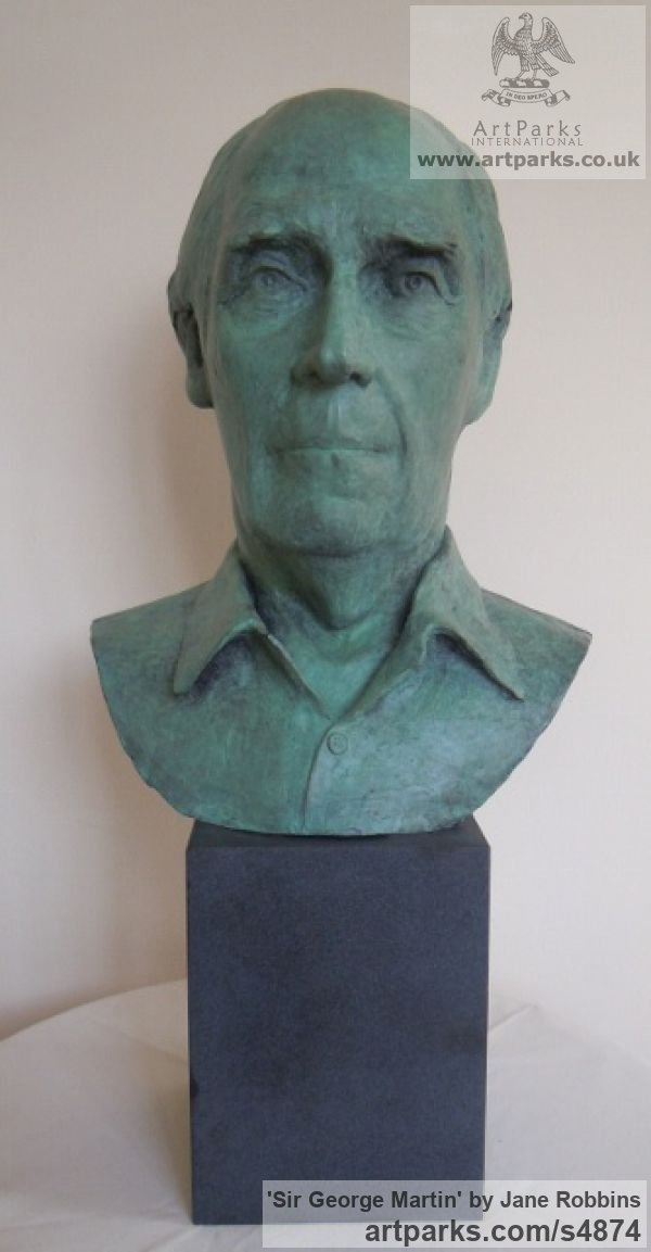 Bronze Portrait Sculptures / Commission or Bespoke or Customised sculpture by sculptor Jane Robbins titled: 'Sir George Martin (Bronze Portrait Bust Head Commission statues)'