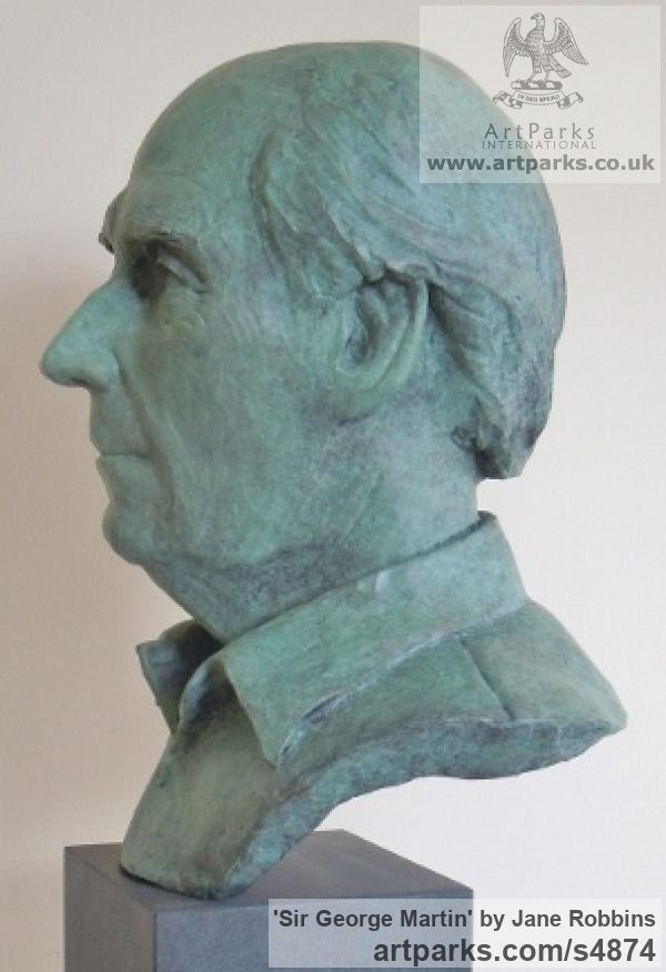 Bronze Portrait Sculptures / Commission or Bespoke or Customised sculpture by sculptor Jane Robbins titled: 'Sir George Martin (Bronze Portrait Bust Head Commission statues)' - Artwork View 2