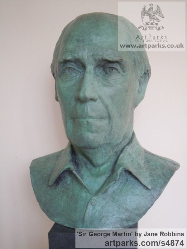 Bronze Portrait Sculptures / Commission or Bespoke or Customised sculpture by sculptor Jane Robbins titled: 'Sir George Martin (Bronze Portrait Bust Head Commission statues)' - Artwork View 4