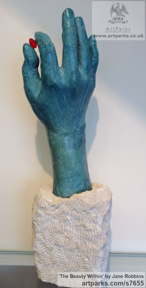 Bronze & stone Portrait Sculptures / Commission or Bespoke or Customised sculpture by sculptor Jane Robbins titled: 'The Beauty Within (Bronze life size Hand sculpturette sculpture)' - Artwork View 2