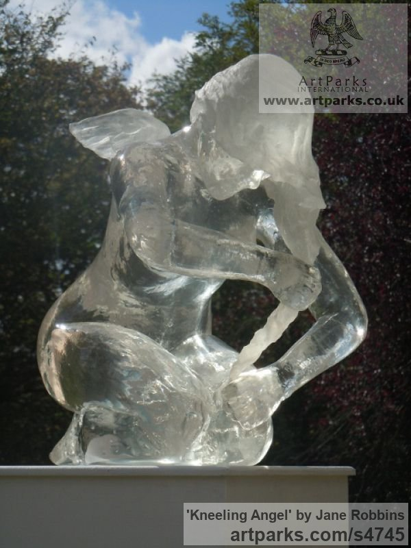 Acrylic resin Garden Or Yard / Outside and Outdoor sculpture by sculptor Jane Robbins titled: 'Kneeling Angel (Translucent Kneeling Water Feature statue)' - Artwork View 5