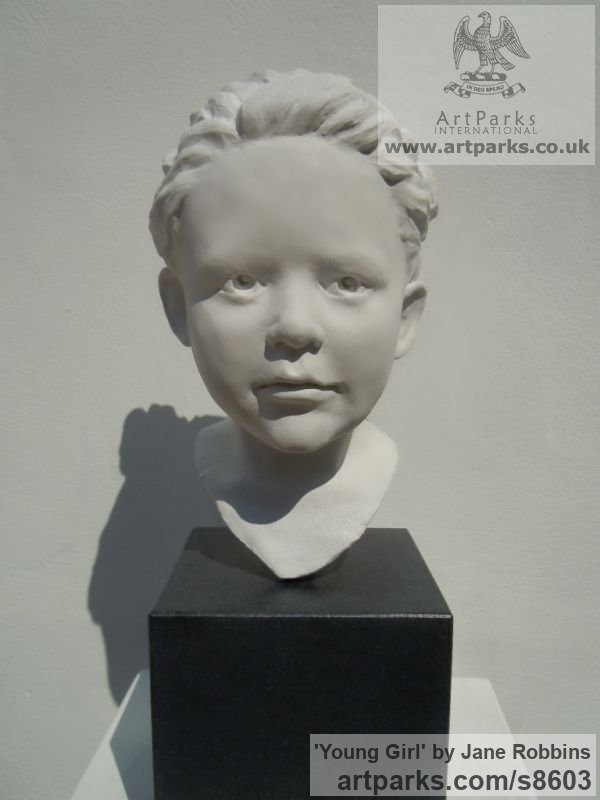 Marble Resin Garden Or Yard / Outside and Outdoor sculpture by sculptor Jane Robbins titled: 'Young Girl (Head Bust life size sculpture)'