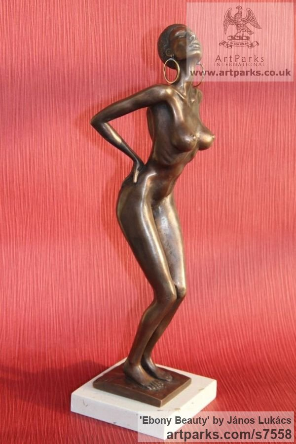 Bronzo Portrait Sculptures / Commission or Bespoke or Customised sculpture by sculptor János Lukács titled: 'Ebony Beauty (Small Posturing nude v Black Girl sculpture)' - Artwork View 2