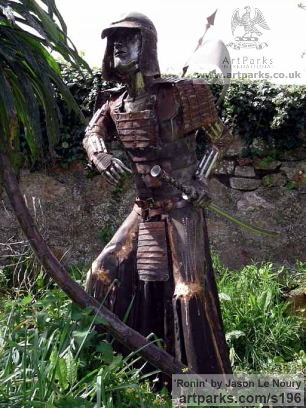 Copper & Steel Garden Or Yard / Outside and Outdoor sculpture by sculptor Jason Le Noury titled: 'Ronin (Steel and Copper Japanese Warrior garden sculptures)'