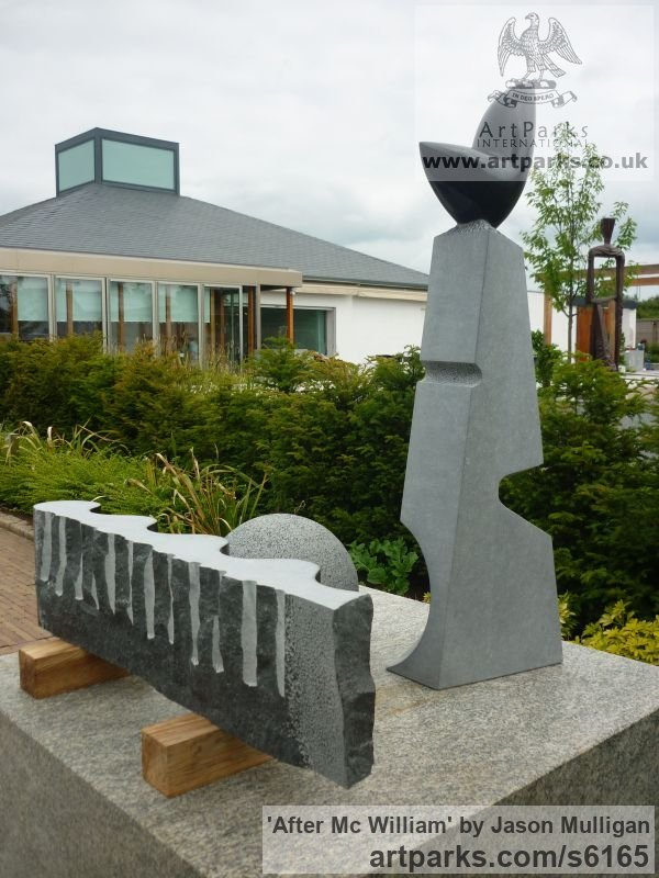 Irish Blue Limestone Abstract Contemporary Modern Outdoor Outside Garden / Yard sculpture statuary sculpture by sculptor Jason Mulligan titled: 'After Mc William (Carved stone monuments/statues)'