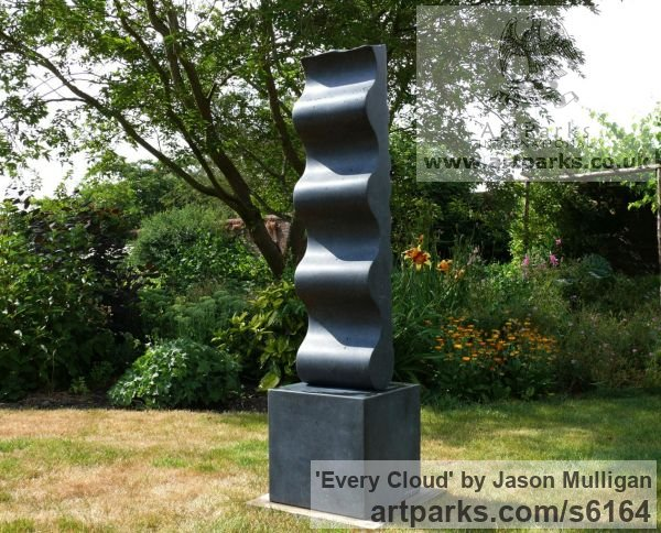 Stone Abstract Contemporary Modern Outdoor Outside Garden / Yard sculpture statuary sculpture by sculptor Jason Mulligan titled: 'Every Cloud (abstract Carved Black garden statue)'