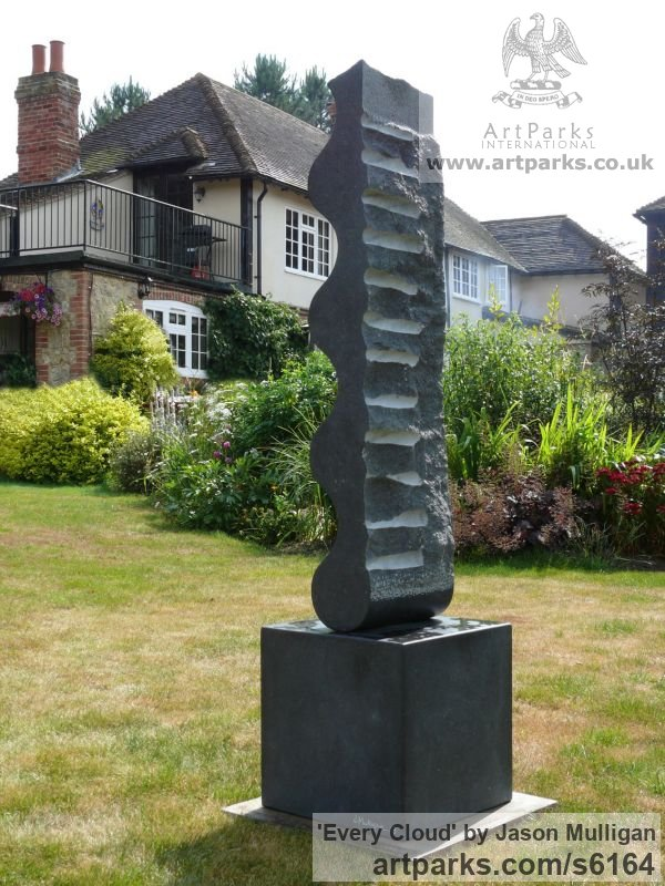 Stone Abstract Contemporary Modern Outdoor Outside Garden / Yard sculpture statuary sculpture by sculptor Jason Mulligan titled: 'Every Cloud (abstract Carved Black garden statue)' - Artwork View 2