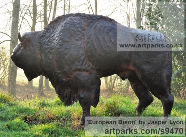Bronze Resin Garden Or Yard / Outside and Outdoor sculpture by sculptor Jasper Lyon titled: 'European Bison (life size Wild Endangered Animal statue)'