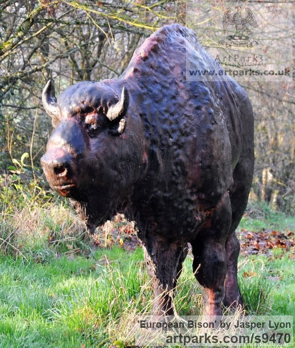 Bronze Resin Garden Or Yard / Outside and Outdoor sculpture by sculptor Jasper Lyon titled: 'European Bison (life size Wild Endangered Animal statue)' - Artwork View 3