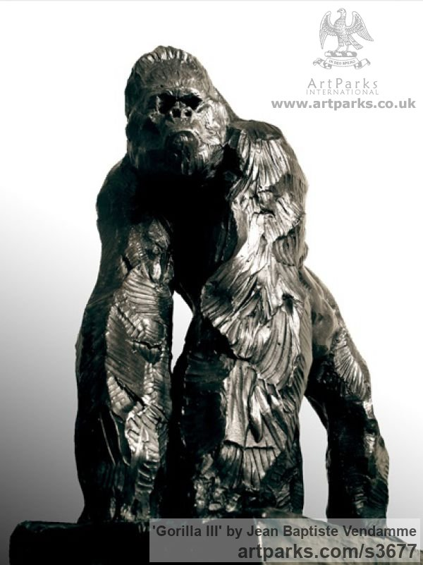 Bronze Wild Animals and Wild Life sculpture by sculptor Jean Baptiste Vendamme titled: 'Gorilla III (Small Bronze Primate Ape statues/statuette/ornament)'