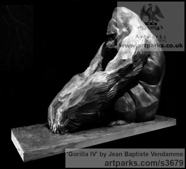 Bronze Wild Animals and Wild Life sculpture by sculptor Jean Baptiste Vendamme titled: 'Gorilla IV (Sitting Ape Primate Bronze statue)'