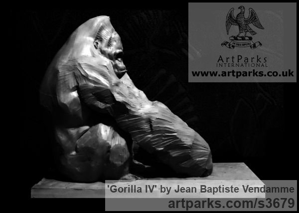 Bronze Wild Animals and Wild Life sculpture by sculptor Jean Baptiste Vendamme titled: 'Gorilla IV (Sitting Ape Primate Bronze statue)' - Artwork View 2