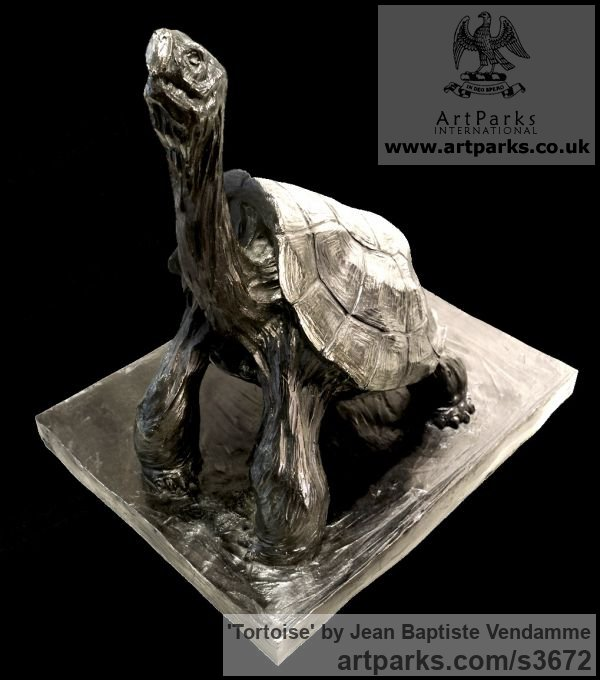 Bronze Wild Animals and Wild Life sculpture by sculptor Jean Baptiste Vendamme titled: 'Tortoise (life size Tortoise sculptures)'