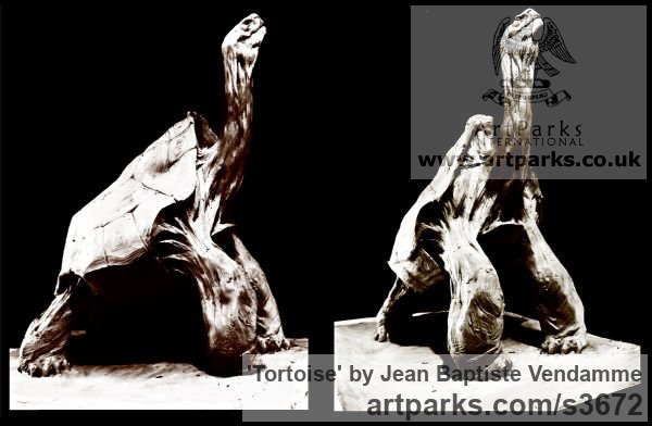 Bronze Wild Animals and Wild Life sculpture by sculptor Jean Baptiste Vendamme titled: 'Tortoise (life size Tortoise sculptures)' - Artwork View 2
