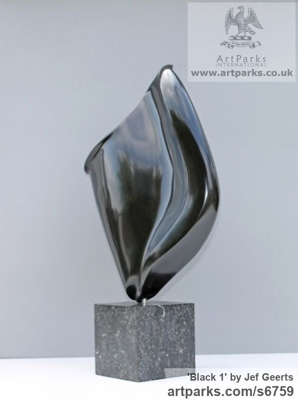 Black marble Carved Abstract Contemporary Modern sculpture carving sculpture by sculptor Jef Geerts titled: 'Black 1 (Polished Black marble A abstract Indoor statue)'