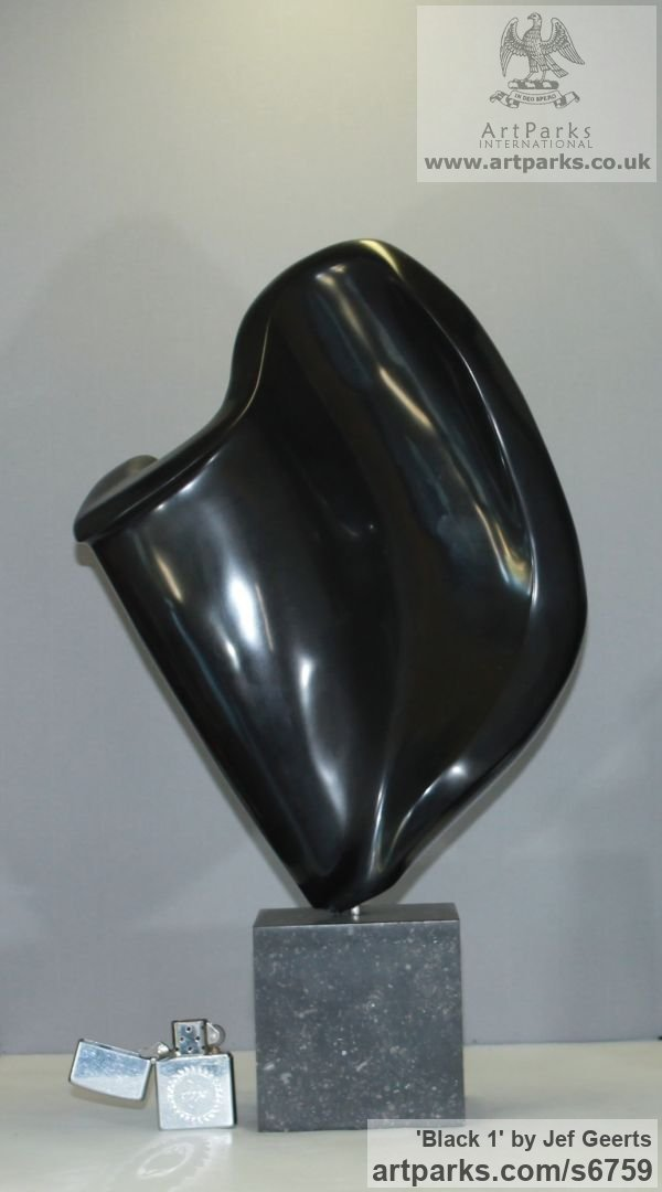 Black marble Carved Abstract Contemporary Modern sculpture carving sculpture by sculptor Jef Geerts titled: 'Black 1 (Polished Black marble A abstract Indoor statue)' - Artwork View 2